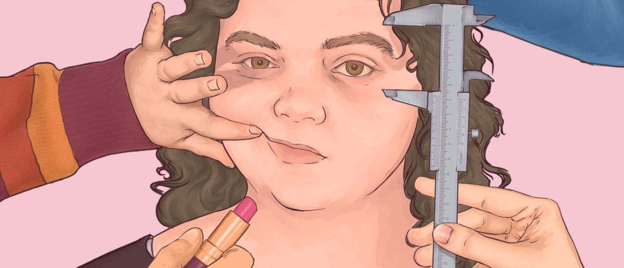 an illustration of a face with hands poking in from outside the frame poking and prodding