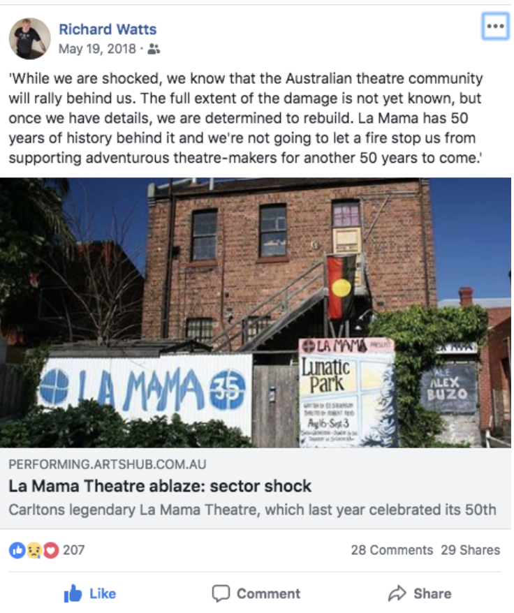 Screenshot from La Mama Chair Richard Watts Facebook. Click picture to go to original post