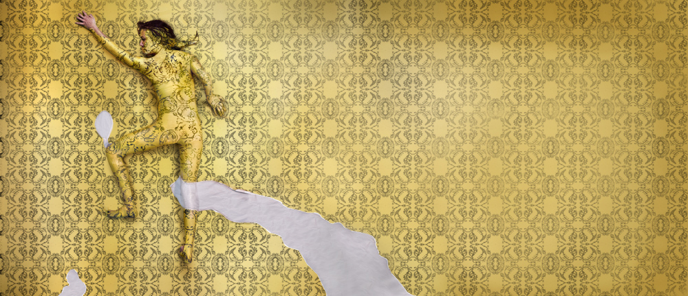 A woman painted into yellow wallpaper