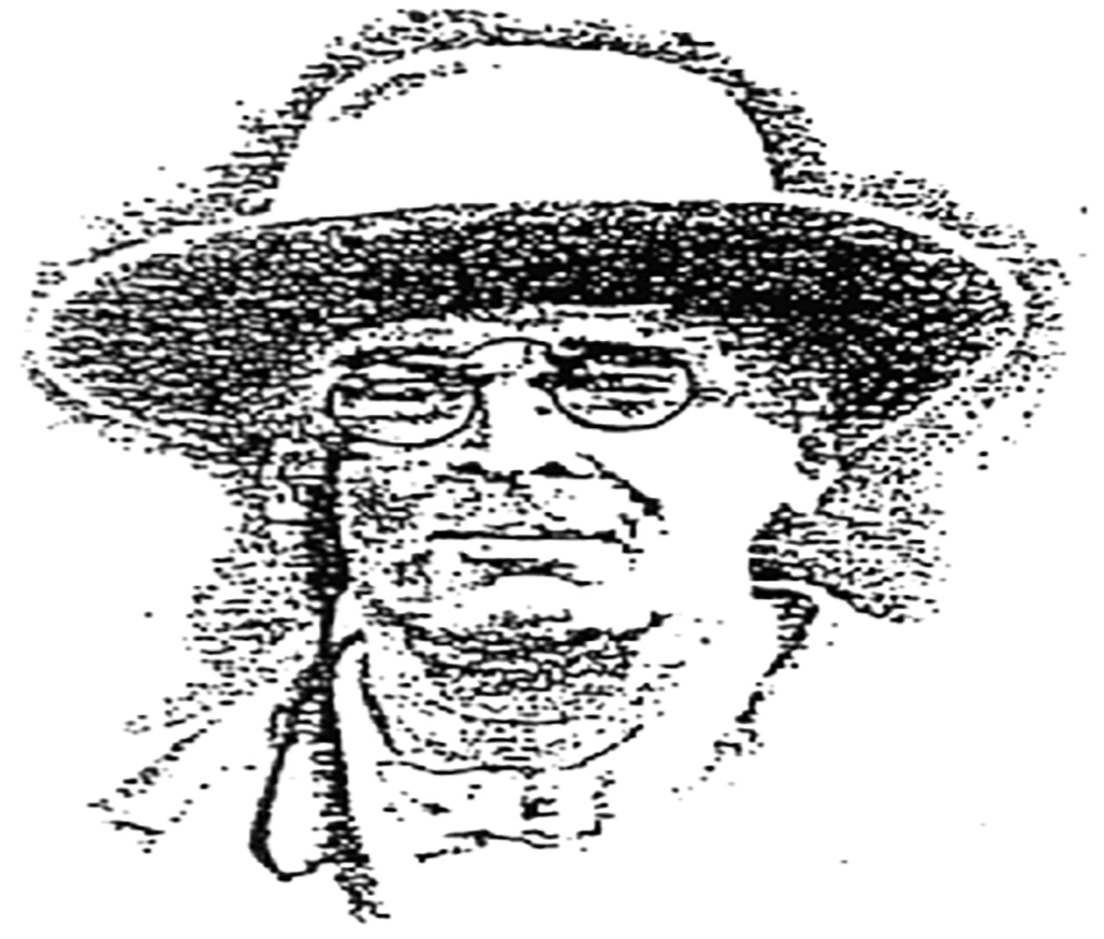 A black and white etching of a man with glasses and a broad brim hat