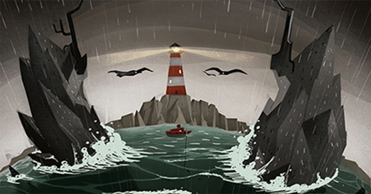 A poster shows a face with seagulls for eyes, rocks for hair around its face, a lighthouse for its nose, and light streaming out from the lighthouse.