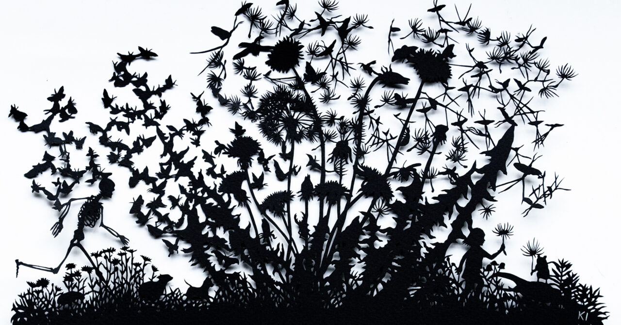 A papercut silhouette image of a dandelion with its fluffs flying with insects like butterflies and mayflies.