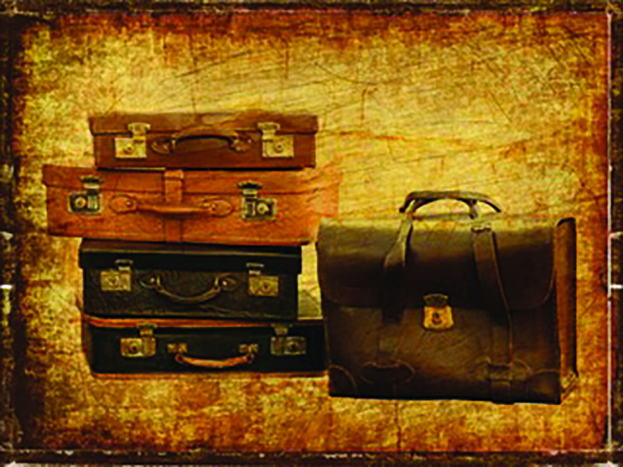 A stack of suitcases on a brown background.