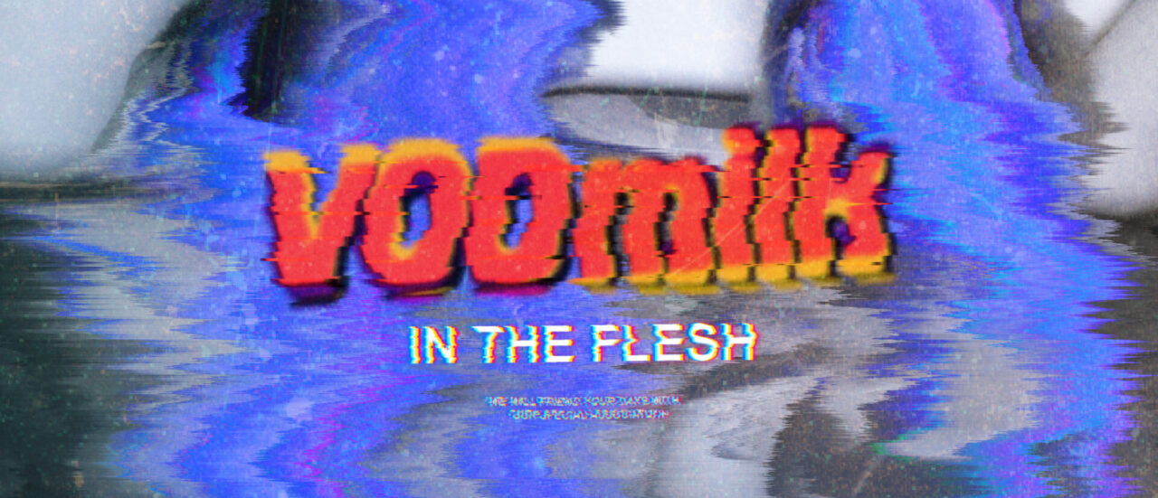A graphic image with text: VODmilk in the flesh