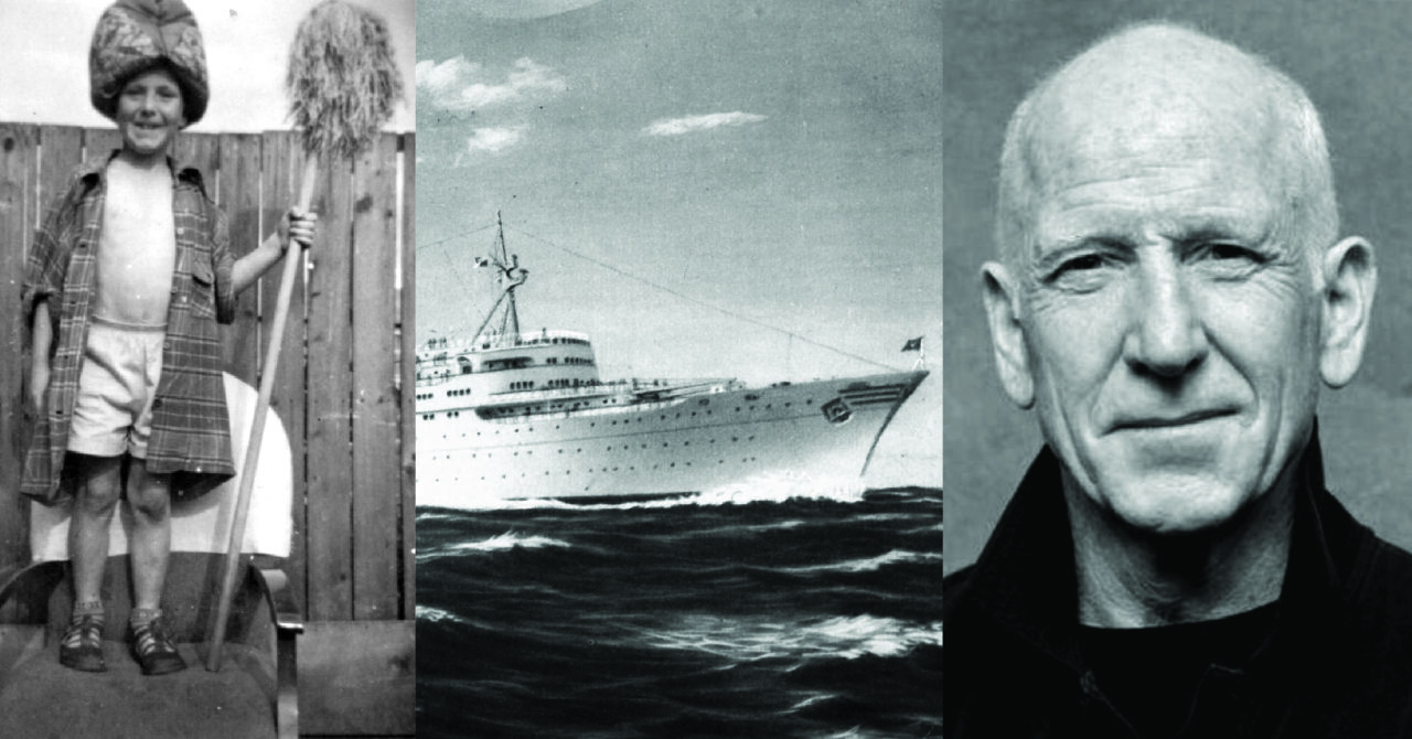 """A collage of images: B&W photo of a 5 year-old boy (the writer). Also in the collage is postcard painting of the passenger ship """"Fairsky"""" which brought the writer and his family from Ireland to Australia in 1963. He is bare-chested, wearing his Dad's shirt, his Mum's tea-cosy and holding a mop. (taken around 1956). B&W photo of the same person (the writer) now grown up. (circa 2020)."""